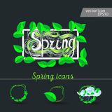 Set of spring icons Cloud, rain, puddles. Drops under the green leaves stock illustration