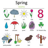 Set of spring icons. Symbols of spring. Royalty Free Stock Images