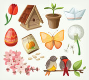 Set of spring items. Vector Stock Photo