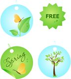 Set of spring labels. Set of four spring sale shop labels. See other labels design in my portfolio Stock Photography
