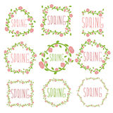 Set of spring labels  flowers and leaves. Vector illustratio Stock Photo