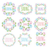 Set of spring labels  flowers and leaves. Vector illustratio Stock Images