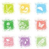 Set spring leaves icons Stock Image