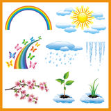 Set of spring nature object, vector icon Royalty Free Stock Photos