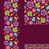 Set of spring night plants seamless pattern and Royalty Free Stock Photo