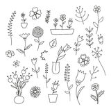 Set of spring plants and flowers. Hand-drawn, black contour on white background Stock Image