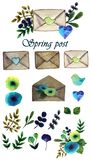Set of spring post stock image