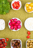 Spring salad. Set for a spring salad ingredients round Royalty Free Stock Photo