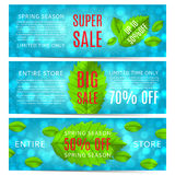 Set of spring sale banners with leafs Stock Illustration
