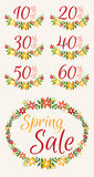 Set of Spring sale graphics with discount stickers Royalty Free Stock Photography