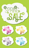 Set of Spring sale graphics with discount stickers Royalty Free Stock Images