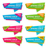 Set of spring sale labels price tags banners badges templates Royalty Free Stock Image