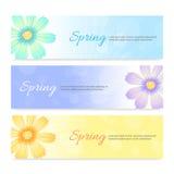 Set of spring season banner background Stock Photo