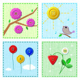 Set of spring sewing cards Royalty Free Stock Photos