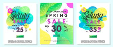 Set of spring special offer banners. Trendy templates with gradient backgrounds,fluid shapes and geometric elements.Sale posters perfect for prints, flyers royalty free stock image