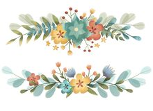 Set of spring, summer garden and forest borders with flowers, leaves and branches.