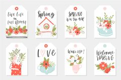 Set of Spring tags and labels. With quotes, calligraphy, flowers, wreath, leaf Stock Photography