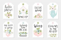Set of Spring tags and labels. With quotes, calligraphy, flowers, wreath, leaf Royalty Free Stock Photo