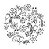 Set of spring theme nature flowers love birds butterflies ladybugs frog dragonfly. Vector illustration outline image Stock Photos
