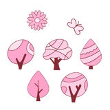 Set of spring tree pink color Royalty Free Stock Image