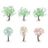 Set of spring tree. Set of six trees, spring flowering icons royalty free illustration