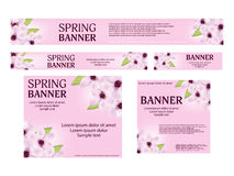 Set spring web banners templates standard size. Background with Stock Image