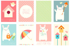 Set of springtime banners with cute rabbit Royalty Free Stock Photo