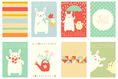 Set of springtime banners with cute rabbit Stock Photo