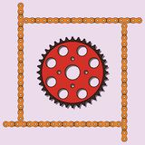 Set of sprocket wheel and chain icons Stock Images