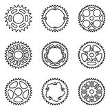 Set of sprocket wheels. Bicycle parts. Thin line vector. Bike components of chain drives. Vector illustration stock illustration