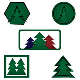 Set spruce logo. Five elements isolated. Fir, icon. Stock Image
