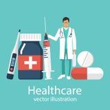 Set sprzęt medyczny pigułki ilustracji