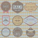 Set sprzedaż rabata rocznika retro odznaki, faborki i etykietki, cześć ilustracji