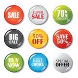 Set sprzedaży odznaki i guziki Produkt promocje Duża sprzedaż, sp ilustracji