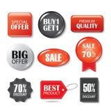 Set sprzedaży odznaki i guziki Produkt promocje Duża sprzedaż, sp ilustracja wektor
