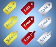 Set sprzedaż i etykietki swobodnie royalty ilustracja