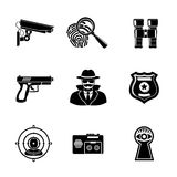 Set of Spy icons - fingerprint, spy, gun. Set of Spy icons - fingerprint, spy and gun, binocular, eye in keyhole, badge, surveillance camera, rear sight Stock Image
