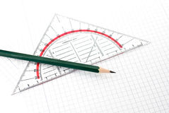 Set Square. A set Square with a pen isolated on a white background Stock Photo