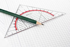 Set Square. A set Square with a pen isolated on a white background Stock Image
