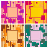 Set of 4 square abstract background. Set of 4 bright geometric square abstract background Stock Photos