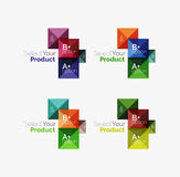 Set of square abstract background templates or infographics. Set of color translucent squares abstract background templates or infographics with place for your Stock Photos