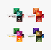 Set of square abstract background templates or infographics. Set of color translucent squares abstract background templates or infographics with place for your Royalty Free Stock Photography