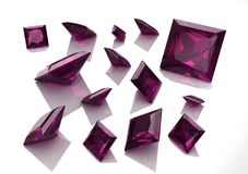 Set of square amethyst stones - 3D Stock Photos