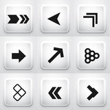 Set of square application buttons: arrows Stock Photography
