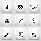 Set of square application buttons: medical Stock Photo