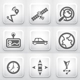 Set of square application buttons: navigation Royalty Free Stock Photography