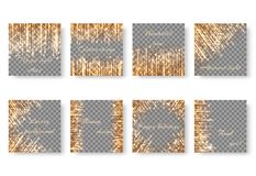Set of square backgrounds with New Year lights. Bright shimmering background with golden lights, radiant bright sparkles and shining star rays Royalty Free Stock Photo