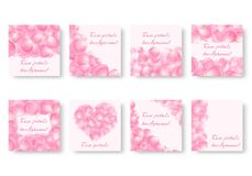 Set of square backgrounds with pink petals. Set of backgrounds with soaring rose petals and place for text for romantic congratulations. Vector illustration with Royalty Free Stock Image
