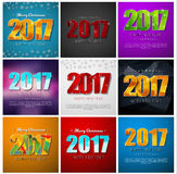 Set square banners Happy New Year 2017 and Christmas. Templates of different color backgrounds with abstract polygonal figures and snowflakes. Vector Stock Photo