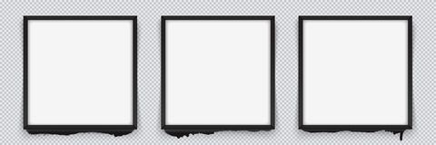 Set of square black frames on a transparent background with streaks of paint. Vector illustration. EPS 10 vector illustration